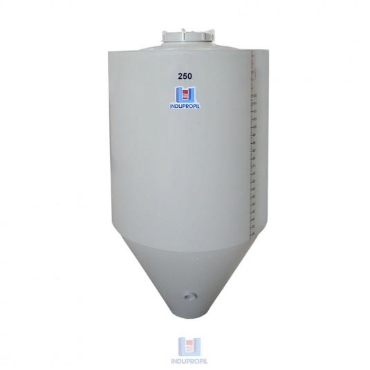 Fermentador Cônico PP na cor Bege - capacidade de 250 Litros Parede Dupla com Isolamento Térmico