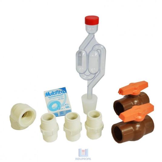 """Kit de Acessório Registro PVC BSP 3/4"""" para Fermentadores Cônicos 2"""
