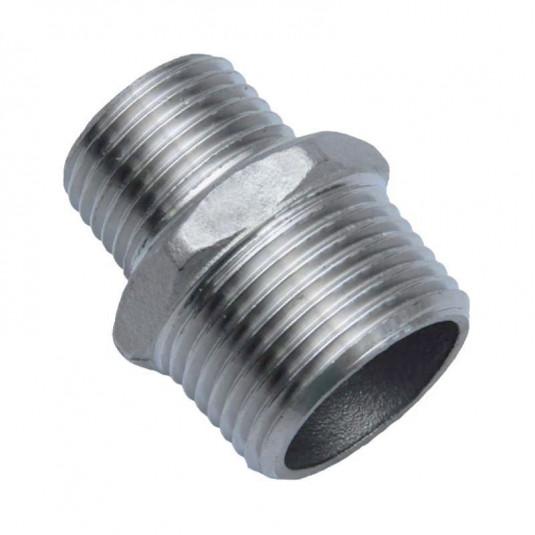 """Niple Redução Inox 304 - BSP 3/4"""" x 1/2"""""""
