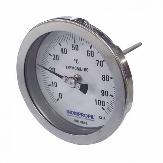 Termômetro Bimetálico 4x1/2 Inox 0-100°C - Haste 100mm