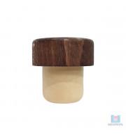 Rolha Sintética Destilados Topo em madeira
